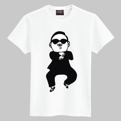 Hot! 5 Colors 2013 New Originality Hand Printed Birds uncle Gangnam Style Cotton Mens Short Sleeve T-shirt Free Shipping. $9.68