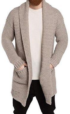 The Project Garments Men's Oversized Shawl Collar Wool Blend Cardigan Beige Mens Shawl Collar Cardigan, Beige Cardigan, Burberry Men, Gucci Men, Crochet Men, Calvin Klein Men, Sweater Design, Baby Knitting Patterns, Long Sweaters