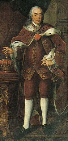 Pedro III (1717 - 1786). Son of Joao V and Maria Anna of Austria. He married Maria I of Portugal and had children.