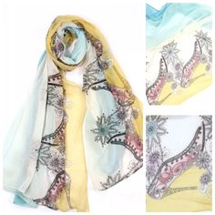 """Art Deco High Heel Shoe Blue Yellow Scarf B70 ‼️PRICE FIRM‼️   Retail $64   LOVE IT!!!!!  Perfect for year round wear.  Art deco style scarf featuring a high heel shoe design. Beautiful watercolors including shades of blues, pink, yellow and & beige. Sure to dress up even the most basic outfit!  100% viscose.  35"""" wide, 71"""" long.  Please check my closet for many more items including designer clothing, jewelry, shoes, handbags and much more!!! Boutique Accessories Scarves & Wraps"""