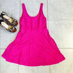 Flirty Pink Lace Dress HOT pink precious lace dress! Never worn! Says Petite Medium. I am a medium 5'7 and you can see it on me in the pictures! Apt. 9 Dresses Midi