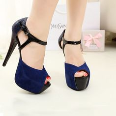 Kode : AWF-360, Nama : Hitam & Biru Donker Kombi Fashion Heels, Price : IDR 175