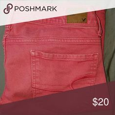 American Eagle Outfitters Hot Pink Skinny Jeans They are made out of jean material and not the stretchy material that their jeans are made out of now. They are 2 years old but still in good condition, no holes American Eagle Outfitters Pants Skinny