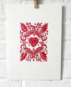 Red Heart Original Linocut Print by mangleprints on Etsy, £16.00