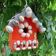 Beach Bird House with sea shells and sea horse | Etsy, CarmelasCoastalCraft