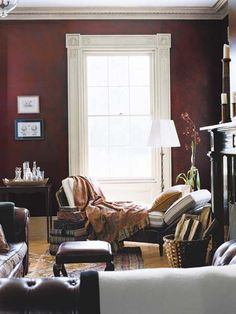 A sophisticated setting gets a weathered look with a special paint effect that layers red on red. | Stadium Red; RL2131 and Moroccan Red; AL11, Antiqued Leather Faux Technique; @ralphlauren Paint at @homedepot