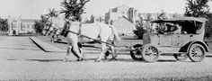 """This a photo taken during the Great Depression. After the stock market crash, nobody could afford gas. Which then the """"Bennett Buggy"""" was made. It affected Canada greatly because of how the Stock Market Crash effected our economy. Gas was expensive to get and then doubled the price to sell. So the horses would push the cars instead of using gas."""