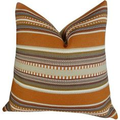 Plutus Chic Stripe Saffron Handmade Throw Pillow, Double Sided, Multicolor