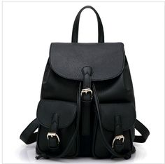 PU Leather Backpack with Two Pockets