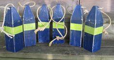Set of 6 Reclaimed Wood Buoys. Wooden Buoy. Wedding decor. Beach Decor. Nautical Decor