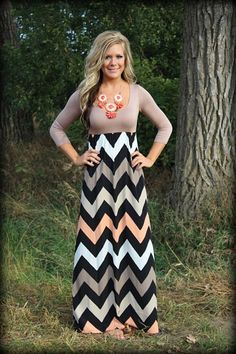 Pre-Order 3/4 sleeve chevron taupe and coral dress: Filly Flair