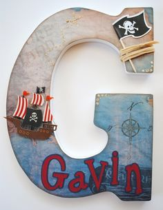Custom Wooden Wall Letters - Hanging Letters - Nursery Letters - Pirate Theme. $24.00, via Etsy.