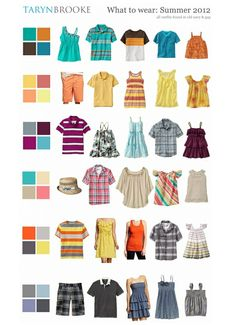 What to wear family session summer 2012 ... I love the idea of choosing key colors to build around!