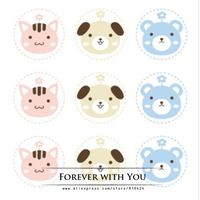 2014 FREE SHIPPING bear rabbit dog paper bakery food sticker label forbiscuit candy 270pc/lot  d:3.7cm