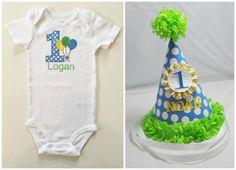 Balloon 1st Birthday Bodysuit and Party by CardsandMoorebyTerri