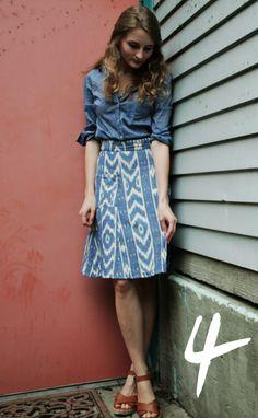 Blue Ikat Skirt.