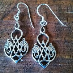 .925 sterling silver Celtic dangle earrings Height: 40 mm (1.6 inches) haallmark 925