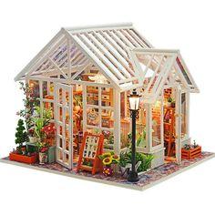 24 DIY Miniature Dollhouse Kit Sosa Florist White Glass Greenhouse Flower Shop with Light and Music Box Model Making Craft Supply Dollhouse Kits, Dollhouse Miniatures, Wooden Dollhouse, Balloon House, Mini Terrarium, Diy Casa, Up Balloons, Diy Shops, Diy Greenhouse