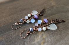 Rustic sea glass earrings, antique beach glass earrings, antique boho dangling earrings, rustic angel wing earrings, spiritual earrings Antique Earrings, Copper Earrings, Boho Earrings, Sea Glass Necklace, Glass Earrings, Drop Earrings, Initial Charm Necklaces, Angel Wing Earrings, Wire Wrapped Earrings