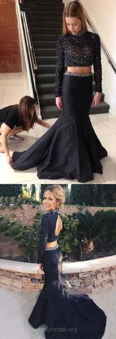 Two Piece Prom Dresses Black, Mermaid Party Dresses Long Sleeve, High Neck Taffeta Formal Evening Dresses Crystal Detailing