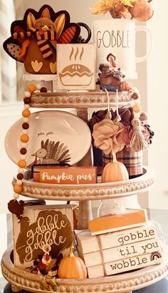 Thanksgiving Crafts, Thanksgiving Decorations, Fall Crafts, Decor Crafts, Halloween Home Decor, Fall Home Decor, Fall Halloween, Tiered Stand, Tray Decor