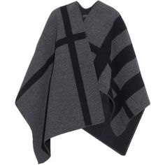 Burberry Prorsum Wool and cashmere-blend reversible wrap (3.515 BRL) ❤ liked on Polyvore featuring outerwear, burberry, sweaters, jackets, takit and grey multi