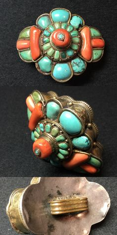Hair ring for men, Tibetan. Silver, coral and turquoise. Private Collection