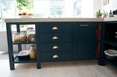 Bank of bespoke drawers with reclaimed brass cup handles open storage and polished concrete worktops Concrete Worktop Kitchen, Handcrafted Interior, Polished Concrete, Farrow And Ball Paint, Interior, Kitchen, Home Decor, Bespoke Kitchens, Open Storage