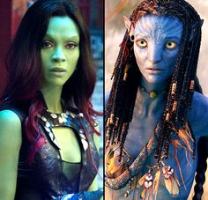 After becoming blue as Neytiri in 2009'S Avatar, Zoe Saldana tried on a different shade of the rainbow as Gamora in the new Guardians of the Galaxy. Do you like Saldana better in blue or Gamora's shade of kelly green?