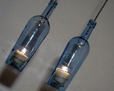 Two Upcycled Pinnacle vodka bottle hurricane candle holder,  outdoor lighting, Recycled bottle Art, Hanging hurricane lamp, Light blue