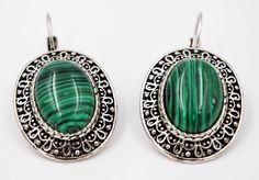Malachite earrings, stones earrings, Romantic jewelry, Bohemian earrings, Gifts for her, silver plated bijoux, safe bijoux by wikandah on Etsy