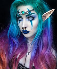Night elf kind want to do a bas # bandages # demon . Night elf kind want to do a bas # bandages # demon . - most beautiful ideas for an evening make up.woman make up . Elf Cosplay, Cosplay Makeup, Costume Makeup, Demon Costume, Elf Makeup, Demon Makeup, Alien Makeup, Night Makeup, Mode Inspiration