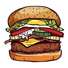Burger Drawing, Food Drawing, Cartoon Drawings, Art Drawings, Burger Cartoon, Stickers Cool, Graffiti Font, Sketchbook Inspiration, Arte Pop