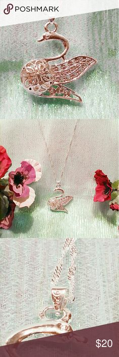 """Stamped 925 Sterling Silver Swan Pendant Necklace I have a Gorgeous!!! Stamped 925 """"Sterling Silver Swan"""" Pendant Necklace. Pendant is 1 3/4""""X 1 1/2"""" X 1/2"""". It comes with 20"""" stamped 925 chain. This is a BEAUTIFUL Necklace!!! Jewelry Necklaces"""