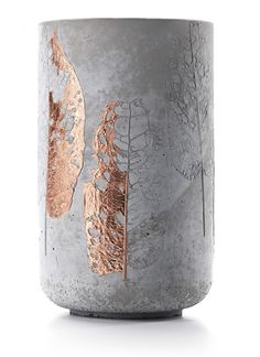 concrete vase with bronze leaf detail - doreen westphal studio