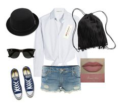 """simple everlasting style"" by restinauli-suyanto on Polyvore featuring Maje, True Religion, Converse, H&M and Ray-Ban"