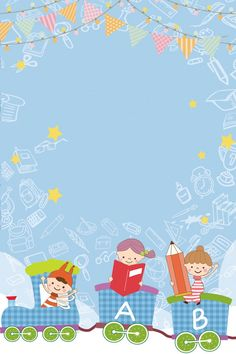 Temporada azul da escola da educação fresca Powerpoint Background Design, Background Templates, Kids Background, Background Images, Green School, Simple Poster, School Frame, Simple Cartoon, Certificate Templates