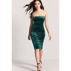 Forever21 Crushed Velvet Tube Dress ($13) ❤ liked on Polyvore featuring dresses, dark green, mini tube dress, forever 21 cocktail dresses, crushed velvet bodycon dress, crushed velvet mini dress and mini dress