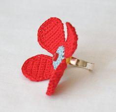 Edana - Crocheted ring - Crocheted Jewelry