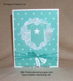 Stampin' Up! - Something for Baby stamp set in Coastal Cabana and the new Maritime Designer Series Paper.  Baby's First (framelits) also used.  http://lindasstampinescape.com