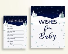 Wishes For Baby Baby Shower Wishes For Baby Winter Baby Shower Wishes For Baby Baby Shower Winter Wishes For Baby Blue White prints 3E6QO - Digital Product #babyshowergames #babyshowerdecorations