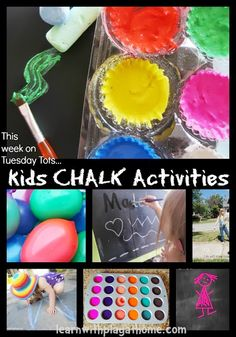 Learn with Play at home: Kids Chalk Activities. Great ideas for writing and fine motor activities.