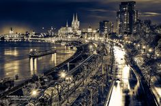 Cologne city and the Cathedral by night (Fineart)  #Germany #Cologne #Köln #fineart #blackandwhite #longtimeexposure #nightscape #cityscape #photography #markuslandsmann