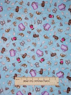 House Mouse Kitchen Helpers Mice Tea Blue Quilting eBay
