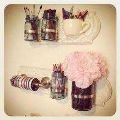 diy mason Jar craft | Mason Jar Shelves I Made for My Craft Room. #DIY ... | Craft Ideas