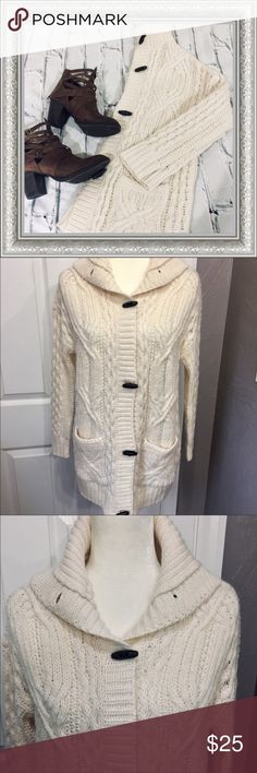 AE | Toggle Sweater Coat - CUTE, COMFY & WARM! RePosh. NWT. Great piece, just a little to big on me. So cute & comfy though!! Ivory sweater coat with toggle buttons American Eagle Outfitters Sweaters