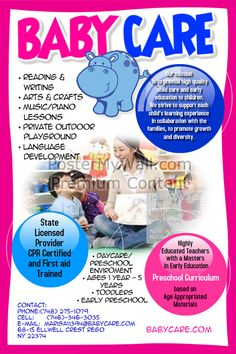 Preschool Advertising Ideas Daycare Advertisements