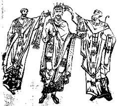 Mittelalterlicher Herrscher- und Priesterornat.Konrad II. wird von dem Erzbischof von Mainz gekrönt.   Buchmalerei. 1024-1039. Schaffenhausen, Ministerialbibliothek