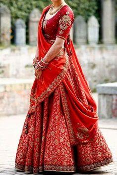 Indian Bridal Lehenga Red Ideas For 2019 Indian Bridal Lehenga, Indian Bridal Outfits, Indian Bridal Fashion, Indian Bridal Wear, Bridal Lehenga Choli, Indian Designer Outfits, Indian Dresses, Silk Lehenga, Lehenga Wedding