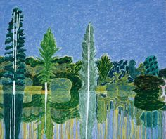 Second Lake, Sheffield Park Garden, Sussex Weald, and August 2002 by Adrian Berg © Estate of Adrian Berg. All Rights Reserved, DACS 2017 Sheffield Park, Modern Landscaping, Mark Making, Landscape Art, Abstract Art, Abstract Trees, The Magicians, New Art, Oil On Canvas
